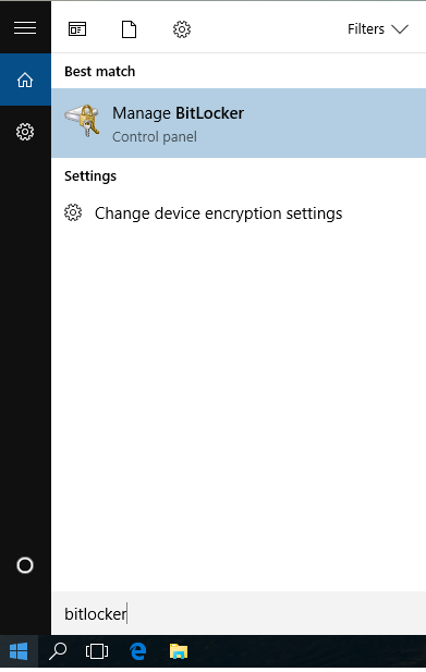 Enabling BitLocker on Windows 10